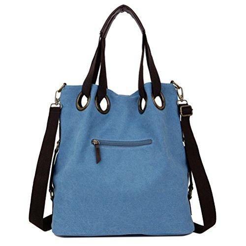 Nasis Damen Mädchen Fashion Design Canvas/ Segeltuch Multifunktion Schultertasche Umhängetasche AL4202 blau Blau