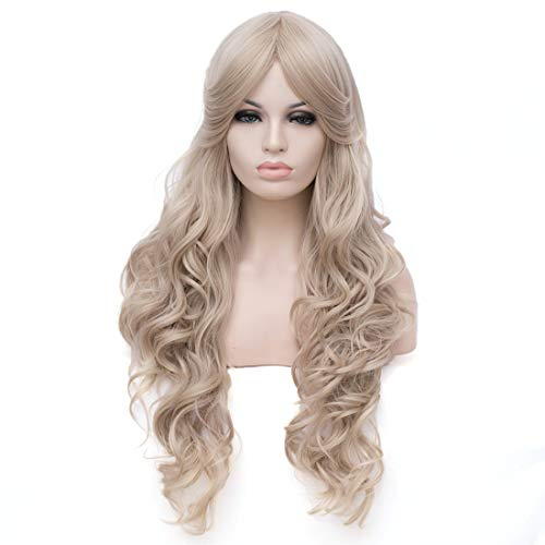 (Women's Blonde Long Wavy Wig with Bangs Synthetic Wigs for Daily Use or)
