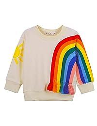 BAOBAOLAI Baby Girl Kid Long Sleeve Sun Rainbow Top Shirt Sweatshirt with Tassel