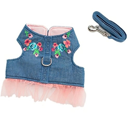 Stock Show Pet Dog Vest Harness and Leash Set with Cute Bowtie Small Dog Outdoor Walking Jackets Breathable Fashion Jeans Cloth For Small Puppy Dogs Teddy Poddle, Jean with Gauze