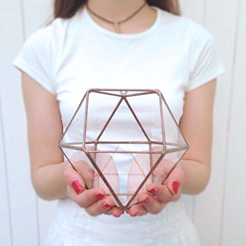 Oktaeder groß Geometrische Glas Terrarium/handgemachtes Glas Übertopf/Modernes Pflanzgefäß für den Garten-/gebeizt Glas Terrarium-Hand Made loveglass (schwarz), glas, bronze, 19x18x17