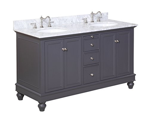 Kitchen Bath Collection KBC222GYCARR Bella Double Sink Bathroom Vanity with Marble Countertop, Cabinet with Soft Close Function and Undermount Ceramic Sink, Carrara/Charcoal Gray, 60'