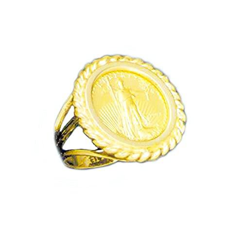 14 Kt Solid Yellow Gold Ladies Ring With 22 Kt 1/10 Oz Us Lady Liberty Coin (Random Year)