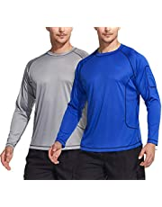 Tesla Men's UPF 50+Swim Shirt Swim Long Sleeve Tee Rashguard Top