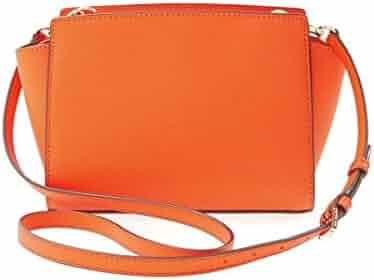 56045aafec19 Michael Kors Cross-body Handbag Selma Clementine MD Messenger Leather orange