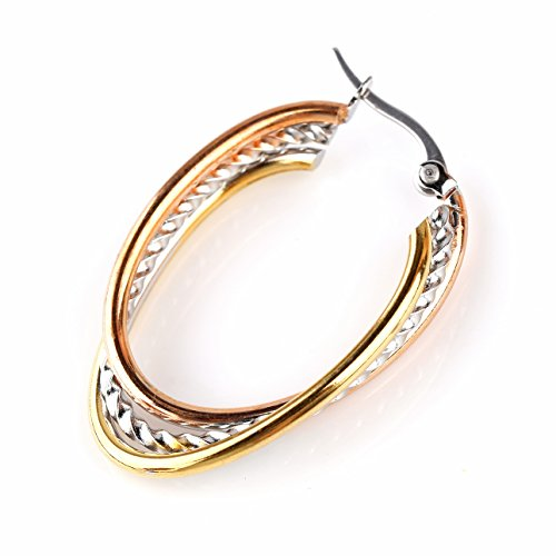 United Elegance - Contemporary Oval Twisted Center Tri-Color Silver, Gold & Rose Tone Hoop Earrings (Tri Color Gold Hoop Earrings)