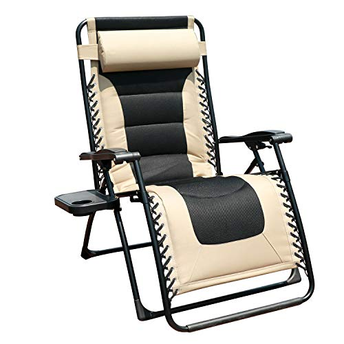 GOLDSUN Oversized Padded Zero Gravity Reclining Chair Adjustable Patio Lounge Chair with Cup Holder for Outdoor Beach Porch,Swimming Pool (Beige) (Lounge Chair Reclining Adjustable)