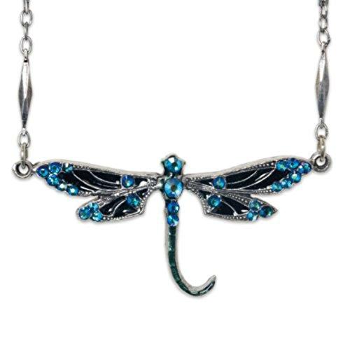 Anne Koplik Antique Silvertone Black & Aqua Swarovski Butterfly Pendant Necklace Anne Koplik Designer Necklace