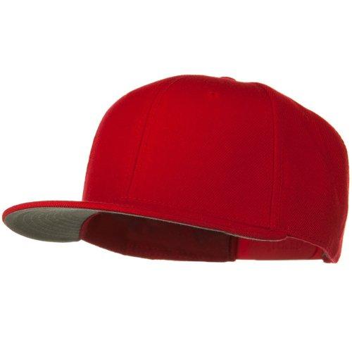 Otto Caps Wool Blend Flat Visor Pro Style Snapback Cap - Red (Ultrafit Wool Blend Cap)