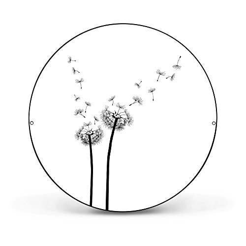 banjado - runde Magnettafel Pinnwand aus Stahl schwarz oder weiß lackiert 47cm Ø mit Motiv Pusteblume 2, Magnettafel rund schwarz