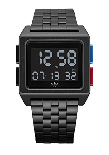 Adidas Watches Archive_M1. Men's 70's Style Stainless Steel Digital Watch with 5 Link Bracelet (All Black/Blue/Red. 36 mm). (Watch Digital Bracelet)