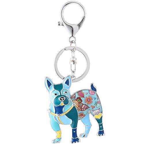 (Marte&Joven Blue Boston Terrier Gift Keychain for Dog Lover Unique Art Enamel Dog Charm Bags Keychains)