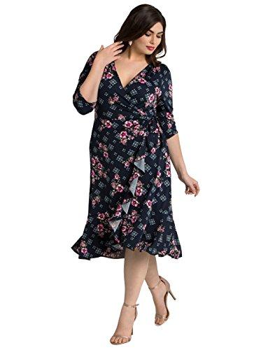 Flirty Cocktail Dresses - Kiyonna Women's Plus Size Flirty Flounce Wrap Dress 1X Navy Rose Print