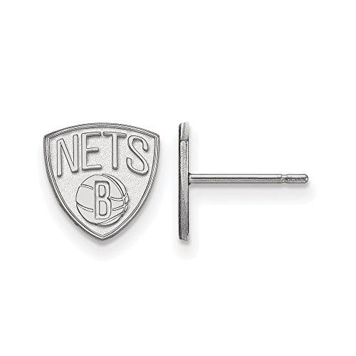 NBA Brooklyn Nets X-Small Post Earrings in Sterling Silver by LogoArt