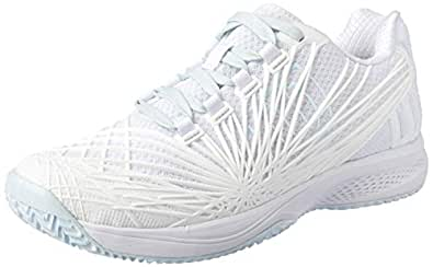 WILSON Women's KAOS 2.0 All Court Tennis Shoe Women's Tennis Shoe, Wht/wht/Blue, 6 US