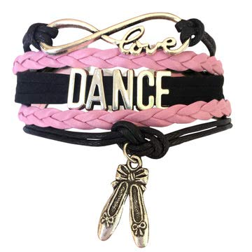 BAE Icons Dance Bracelet Gift for Girls, Infinity Dance Bracelet Ballet Shoes Charm, Gift Boxed. Pink Jewelry for Girls. Dance Girl Gift for Birthday Gifts (Pink, Black, 5.5in Medium) ()
