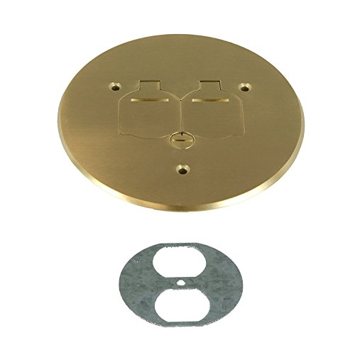 Enerlites 975517-C 5.75'' Brass Dual Flip Lid Cover by Electrical Floor Box Lid, 20A Duplex Tamper-Weather Resistant Outlet, UL Listed by Enerlites (Image #7)