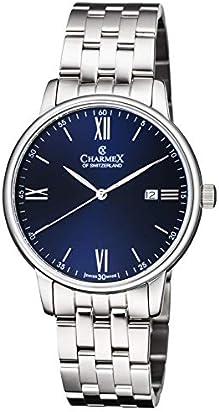 Charmex Luxury Men's 'Amalfi' Wrist Watch Stainless Steel Case and Black Stainless Steel Band — 42mm Analog Watch — Swiss Quartz Movement (Model: CX-3037)