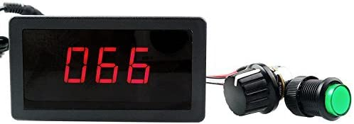 uniquegoods Pantalla 6V 12V 24V Digital LED Controlador DC de velocidad del motor PWM de control de velocidad continua Interruptor de HHO conductor Negro CCM5D