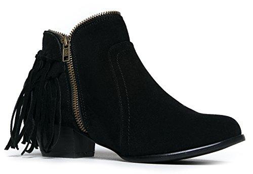 Low Heel Fringe Ankle Boot- Zipper Closed Toe Western Cowboy Bootie - Bailey by J. Adams (Bailey Western Top)