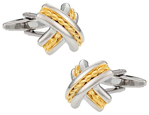 Elegant Two Tone Gold Silver X Cufflinks with Presentation Box (Two Tone Cuff)