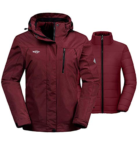 Wantdo Women's Waterproof 3-in-1 Skiing Jacket Soft Shell Snowboarding Coat Wind Resistant Raincoat with Removable Puffer Liner(Wine Red, Large) (Cold Weather Jacket Liner)