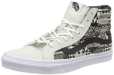 Vans Sk8-Hi Slim Italian Weave White/Black Mid-Top Skateboarding Shoe - 9.5M 8M