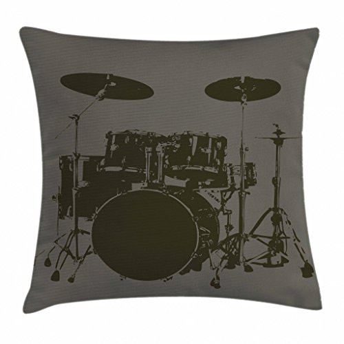 - Ambesonne Music Throw Pillow Cushion Cover, Grunge Drum Kit for Bass Rythm Lovers Ba Dum Tss Image Sketchy Art, Decorative Square Accent Pillow Case, 20 X 20 Inches, Green Brown Pale Sage Green