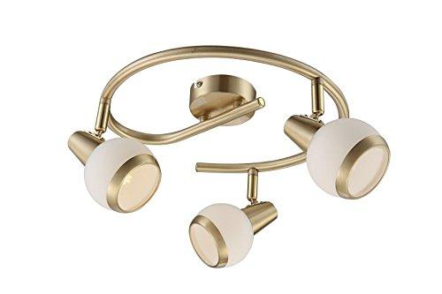 LED Deckenstrahler 3 Flammig Messing Deckenspot Deckenlampe Bewegliche Spots Rund Deckenleuchte Flurlampe 45