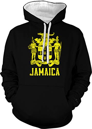 (Amdesco Men's Jamaican Coat of Arms Jamaica Two Tone Hoodie, Black/White)