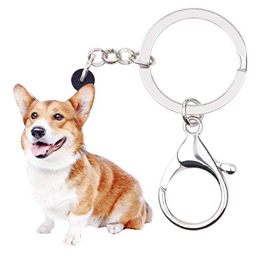 (WEVENI Acrylic Sweet Welsh Corgi Pembroke Dog Key Chains Rings Animal Jewelry For Women Handbag Charms Keychain Gifts (Brown))