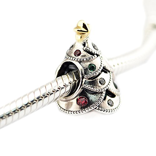 FASHICON European Christmas Gift Festive Tree 925 Sterling Silver Charm Beads for Jewelry Making Fits for Original Bracelet Jewelry