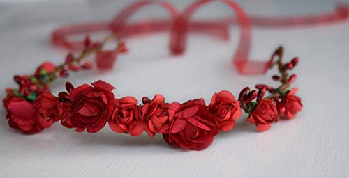 Ruby Red Flower Crown - Red Flower Wreath - Ribbon Tiara - Flower Tiara - Adult Headband - Bridal Flower Crown - Red Tie Back - Medieval