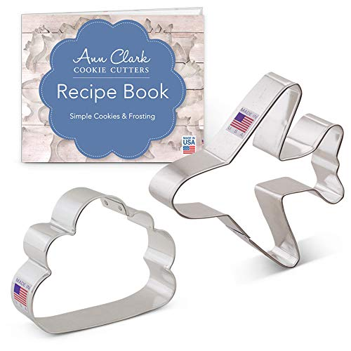 Air Travel/Flying Cookie Cutter Set with Recipe Book - 2 piece - Airplane and Cloud - Ann Clark - USA Made Steel