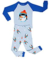"Elowel Little Boys""penguin"" 2 Piece Pajama Set 100% Cotton (Size6M-12Y) Christmas"