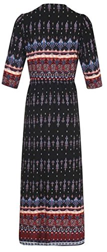 Black Neck Summer Boho Womens Beach Dresses Button V Printed Slit Cromoncent wvXpWU5qOw