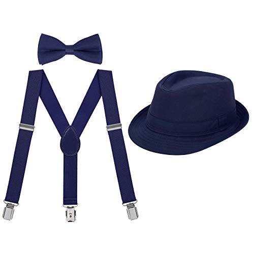 HDE Kids Adjustable Suspenders Boys Pre-Tied Bow Tie and Short Brim Fedora -