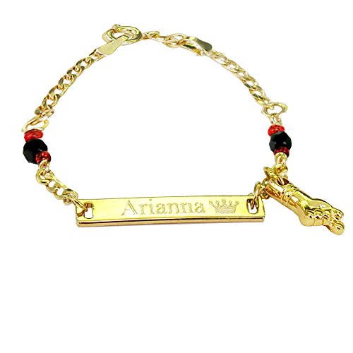 Tina&Co Personalized Gold Name Plated Evil Eye Protection Simulated Azabache Children's Bracelet 4.5