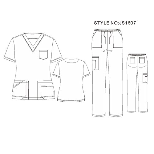 6db0f33c453 V Neck Stretch Nursing Scrubs Set - Soft Stretch Women Scrubs Medical  Uniforms Lady Scrubs JS1607