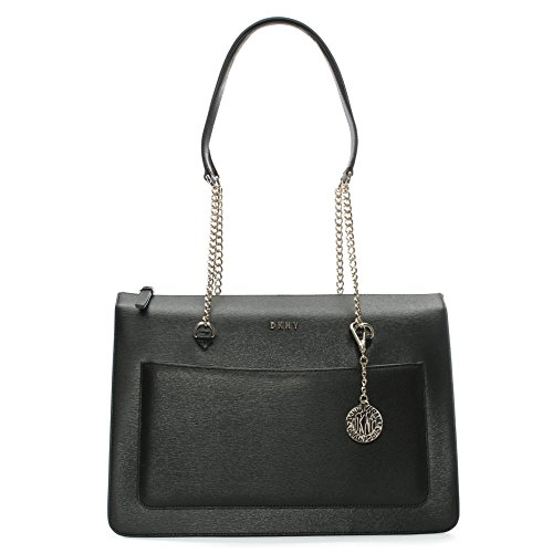 Shopping bag DKNY in pelle saffiano nera