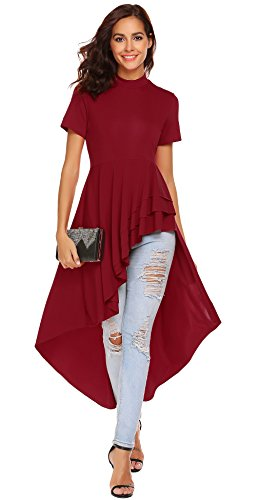 SimpleFun Womens Irregular Hem Fitted Top Dress Vintage Layered Ruffle Hem Slim Fit Round Neck Peplum Blouse (Red,L)
