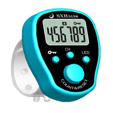 (Arts, Crafts & Sewing Needlework Tools & Accessories - SXH-5136X Mini Stitch Marker Row Finger Counter Electric Digital Display with LED for Sewing Knitting Weave or Buddha Pray - Blue - b)