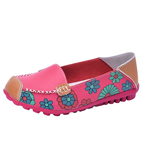 Loafer on Rose 1 Floral Driving Mordenmiss Red Leather Style Slip Women's Moccasins SFtFqXU