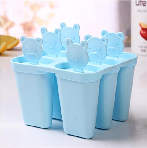 Popsicle Molds Set - 100% BPA Free - 6 Ice Pop Molds Maker with With Folding Silicone Funnel & Cleaning Brush & Silicone Popsicle (Blue)