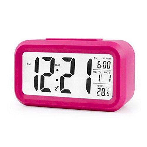 - Oranmay LED Display Digital Alarm Clock Backlight Table Clock Time Monitoring Temperature Calendar (Hot Pink)