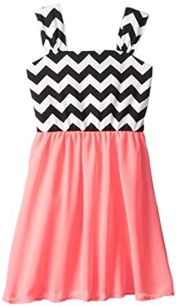 My Michelle Big Girls' High-Low Dress with Zig Zag Print, Pink, 7