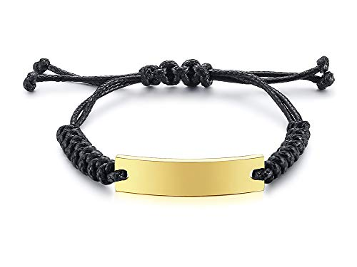 Mealguet Jewelry Unisex Personalized Custom Name Date Initial Quote Engraving Adjustable Cord Stainless Steel ID Bracelets for Men,Gold Plated ()