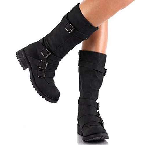 Hunleathy Women's Mid Calf Boots Buckles Combat Riding Boots Size 8 Black by Hunleathy (Image #3)