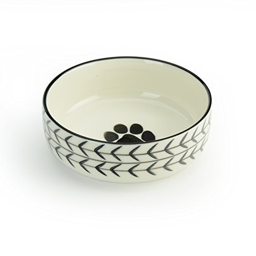 (Signature Housewares Glazed Stoneware Pet Bowls (White Arrow, Extra Small))