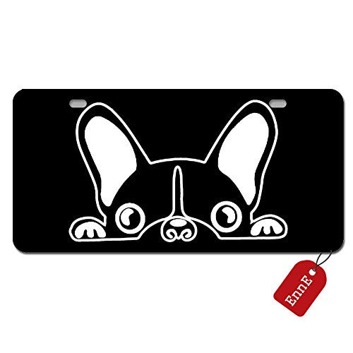 EnnE Personalized Metal License Plate Cover Boston Terrier For Car 2 Holes Car Tag 11.8 inch X 6.1 inch Boston Terrier License Plate